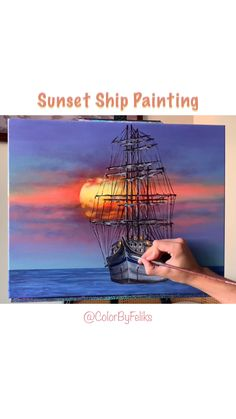 Art Discover Sailboat Sunset Acrylic Painting Using ColorByFeliks Acrylic Paints! Canvas Painting Tutorials, Diy Canvas Art, Painting Videos, Acrylic Painting Canvas, Acrylic Art, Canvas Painting Designs, Art Painting Gallery, Art Drawings Sketches, Watercolor Art