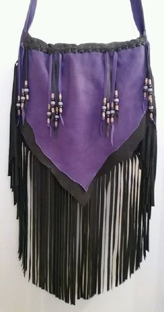 Ready to Ship Leather Purse PURPLE-ISIOUS Fringed by dleather