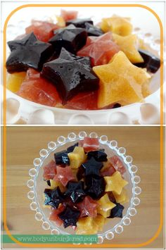 healthy homemade fruit snacks, I would use pectin instead of gelatin and change the amount of honey based on how sweet the fruit naturally is.