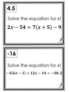 Step Equations Worksheet multi-step equations scavenger hunt ...