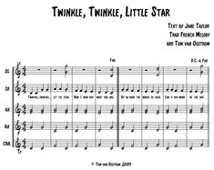 """""""Twinkle, Twinkle, Little Star"""" Orff Arrangement - Tom's Orff Arrangements - lots of great arrangements for orff ensemble - categorized by grade level and other"""