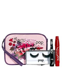 This party make-up set is made by POP and is exclusive to ASOS. The set includes: a longwearing lip stain in Brick Beauty, liquid eyeliner with a slim tip for precision application and a set of feathered false eyelashes for instant added volume and length. The products come in a printed cosmetics bag.