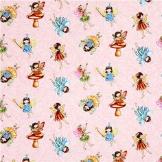 pink flower fairy fabric from the USA Fairies of the Earth 2