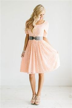 Lacy blush dress with gray belt and nude shoes.