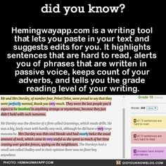 Did you know?  http://Hemingwayapp.com s a writing tool that lets you paste in your text and suggests edits for you.