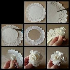 Deko: als Blume in eine Schüssel oder als Girlande Mehr You will love this cute paper doily flowers diy and they are so easy to recreate and look great. Flor de papel, paper doilies turned into flowers tutorial Cut flower costs with paper ones. Paper Doily Crafts, Doilies Crafts, Paper Flowers Diy, Handmade Flowers, Flower Crafts, Diy Paper, Fabric Flowers, Paper Crafting, Fabric Paper
