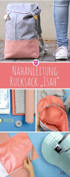 "Sewing instructions for the backpack ""Isah"" by DIY Owl and Snaply .- Sewing instructions for the backpack ""Isah"" by DIY Owl and Snaply. Made of faux leather and waterproof outdoor fabric with free sewing pattern. Sewing Patterns Free, Free Sewing, Sewing Tutorials, Owl Sewing, Pattern Sewing, Sewing Tips, Sewing Projects, Mochila Jeans, Pochette Diy"