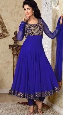 Dazzling Diva Dep Blue Chudidar Kameez