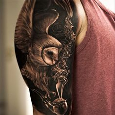 Amazing black and grey and blackwork realistic tattoo by Oscar Akermo! Wow!