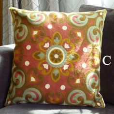 Retro flowers embroidered throw pillows for home decoration