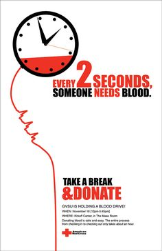 Bold typeface yet again using colour to highlight the importance of the issue, blood drive campaign poster