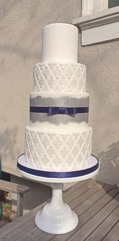 White and silver cake.