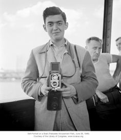Stanley Kubrick, Self-Portrait on a boat, Palisades Amusement Park (New Jersey), 26 June 1946 (18 y. old)    Kubrick was not yet 17 years old when he joined the staff of photographers at Look, an illustrated magazine.