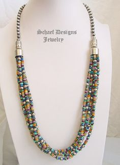 Schaef Designs Multi Mixed Stone & Sterling Silver Bench Bead 5 Strand Necklace Long | New Mexico