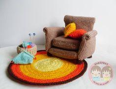 AMIGURUMI PATTERN : Armchair  with 2 cushion , rug and knitting basket