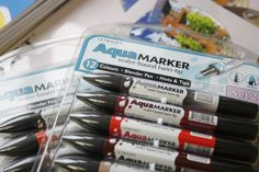 These are great to play around with. You can blend them just like watercolours! Blender Pen, Twin Tips, Watercolours, Along The Way, Markers, Aqua, Paper Crafts, Canning, Play