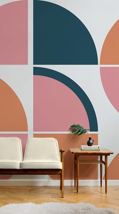 An impressive balance between retro and modern gives the Breuer Retro Geometric Wall Mural a distinctively creative edge Retro Interior Design, Commercial Interior Design, Interior Design Living Room, Interior Decorating, Interior Paint Design, Retro Design, Home Modern, Modern Retro, Estilo Art Deco