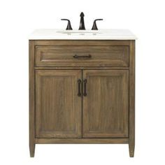 Home Decorators Collection Walden 31 in. W Vanity in Driftwood Grey with Engineered Stone Vanity Top in Crystal White with White Basin 9461600270 at The Home Depot - Mobile