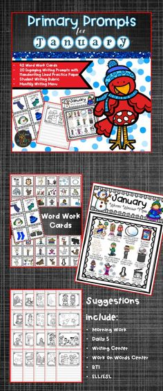 Writing prompts that are guaranteed to keep your students on the WRITE track during the month of January with handwriting practice lined paper!