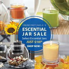 Stock up on your favorite scents! Escential Jar Candles - just $10 through Sunday, August 9 at PartyLite.com