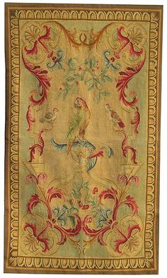 Aubusson tapestry featuring parrots and other birds.