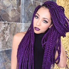 """#crochetbraids #Boxbraids This quick and easy style only took 45 minutes to complete using 8 packs of the Janet Collection 3S Havana MEDIUM Mambo Box Braid 24"""" color #D.PURPLE! This has completely changed the game for braiding! Janet Collection 3S Havana Medium Mambo Box 24"""" Sponsor: @janetcollection Hair Stylist: @parispaige300 Hair Salon: @hairstyles_mspinckney Model: @misaeee_ Makeup Artist:@makeupcraze #TEAMBD #beautydepot #beautysupply #jacksonville #duval #miami #orlando #tampa…"""
