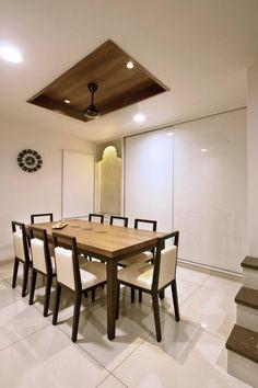 Prakruti Residence – a+t associates Kitchen Ceiling Design, House Ceiling Design, Ceiling Design Living Room, Bedroom False Ceiling Design, False Ceiling Living Room, Kitchen Design, House Design, Dining Room Paint, Dining Room Table Decor