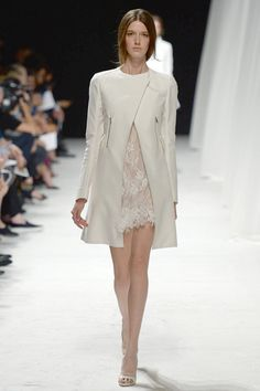Nina Ricci | Spring 2014 Ready-to-Wear Collection | Style.com collarless redingote + APPLIQUED LACE DRESS