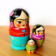 Three FRIDA Kahlo set of nesting dolls Canadian Artist TASCHA hand painted doll #folk