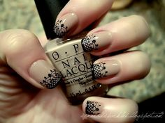 OPI Tickle My France-y, lace image from konad plate m37, special polish in black and freehanded french tips.