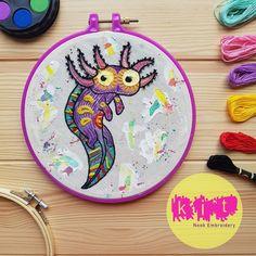DIY Beginners Starter Embroidery Kit: Axolotl | Embroidery Kit with Pattern | Embroidery Pattern, Modern Embroidery Kit, Embroidery Hoop Brush Embroidery, Embroidery Needles, Modern Embroidery, Beaded Embroidery, Embroidery Patterns, Axolotl, Printing On Fabric, Needlework, Hoop
