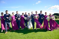 Full bridal party having some fun. Helps to put everyone at ease and this comes across in the photos.