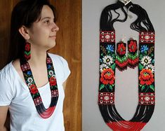 set of jewelry 2 piece necklace and earrings, beadwork set, necklace flowers, native american inspiration, multistrand bead necklace, gerdan