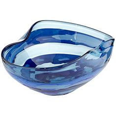 With wavy ridges and dark blue paint against light blue glass, this evocative glassblown bowl seems to flow as freely as water. Style # at Lamps Plus. Greenery Centerpiece, Centerpieces, Water Blue, Wide Stripes, Hand Blown Glass, Decorative Bowls, Lamps, Light Blue, Modern
