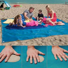 I WANT ONE! Giant Sandless Beach Mat. Sand and water are instantly filtered through as soon as they fall on this mat's surface - and it can't re-emerge back through the bottom! I HAVE TO GET ONE OF THESE THIS YEAR