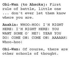 Anakin and Obi-Wan teaching Ahsoka about combat.