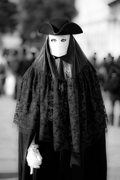 black and white mask carnival of venice, Italy