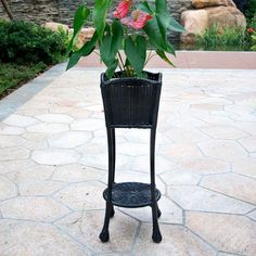 Jeco Wicker Patio Furniture Planter Stand