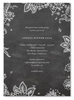 Gala Invitations Chalk for green corporate event.  Paisley Gala Invitations. illustrated with chalk!  Printed on 100% recycled.