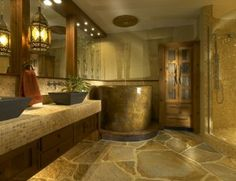 Asian bathroom design consists of lights, mainly overhead lamps and sconce that add a unique flare. Checkout 25 Best Asian Bathroom Design Ideas click now for info. Asian Bathroom, Stone Bathroom, Bathroom Spa, Bathroom Interior, Bathroom Ideas, Bathroom Designs, Stone Bathtub, Wooden Bathroom, Bathtub Ideas