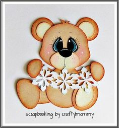 WINTER Snowflake BEAR Boy Girl Premade Paper Piecing for Scrapbook Page Sherri