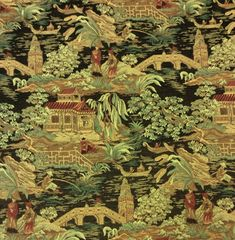 Asian Toile Tapestry Fabric Heavy Weight Upholstey Fabric In Sage Burgundy Browns and Black