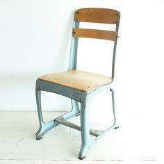 Vintage chair - kids chair - childs chair - school chair - kiddie chair - wood - metal - photo prop - American Seating - Envoy - light blue