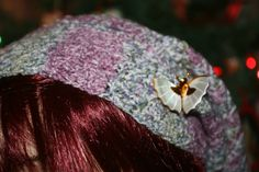 Colorful Handmade Wool Mix Yarn Crochet Slouchy Hat Purple Grey Mother-of-Pearl Butterfly Pin by EverythingLovedAgain on Etsy