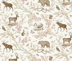 Woodland Spring Toile (Sepia) fabric by nouveau_bohemian on Spoonflower - custom fabric