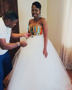 Image may contain: 1 person, standing and wedding Related posts: How To Create An Enchanted Theme. Image by Aaron. African Bridal Dress, African Print Wedding Dress, African Wedding Attire, African Prom Dresses, African Attire, African Dress, African Traditional Wedding Dress, Traditional Wedding Attire, Zulu Traditional Attire
