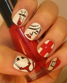 Are you a nurse looking for great nail art? Or are you a nail artist looking for nurse nails art and designs? Check out all 100 choices! Nurse Nails, Hair And Nails, My Nails, Happy Nurses Week, Cute Nail Designs, Creative Nails, How To Do Nails, Nail Care, Pretty Nails