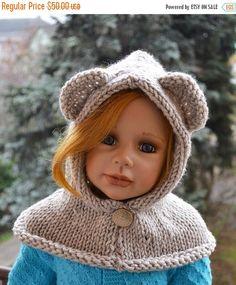SALE 15% OFF Knitted  hood  bear scarf  beige  bear by DosiakStyle