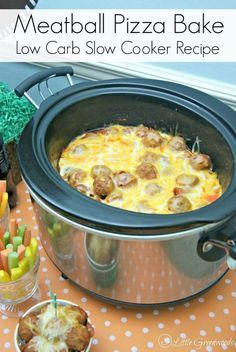 AWESOME slow cooker recipe for Meatball Pizza Bake that's perfect for football snacks! Italian meatballs, pepperoni, and tangy sauce topped with gobs of gooey cheese! One of our favorite crockpot reci (Keto Recipes Slow Cooker) Crock Pot Recipes, Keto Crockpot Recipes, Crock Pot Cooking, Low Carb Recipes, Cooking Recipes, Dishes Recipes, Recipies, Cheap Recipes, Healthy Recipes