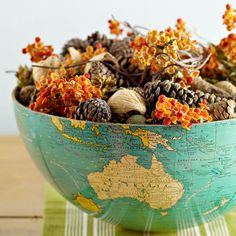 Repurpose old globes as fall centerpieces